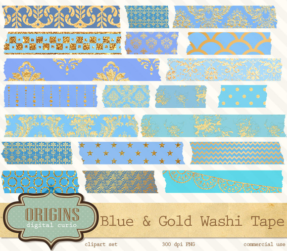 Blue Gold Digital Washi Tape