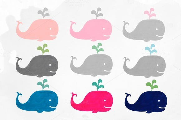 Baby Whales Watercolor Clipart