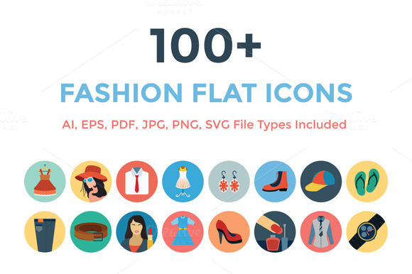 100 Fashion Flat Icons
