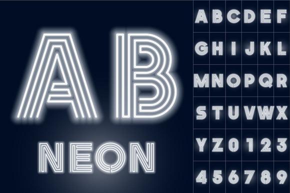 Alphabet Of White Neon Tubes