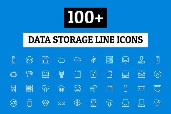 100 Data Storage Line Icons