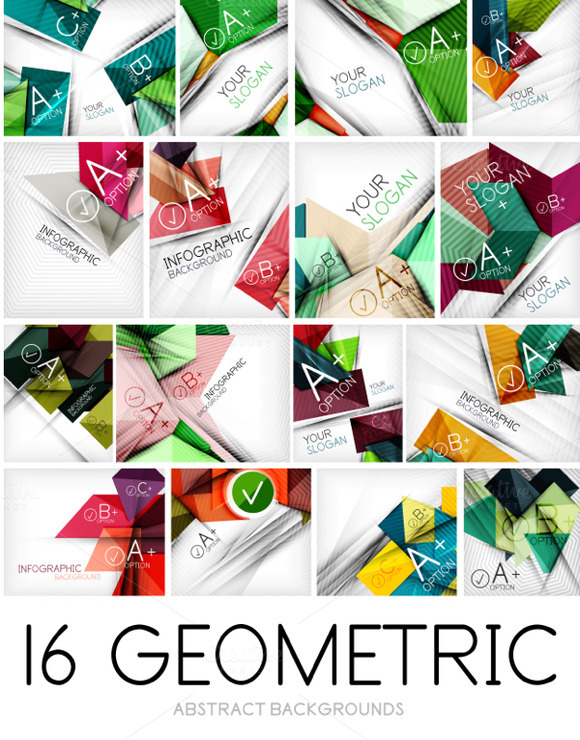 16 Geometric Lines Backgrounds