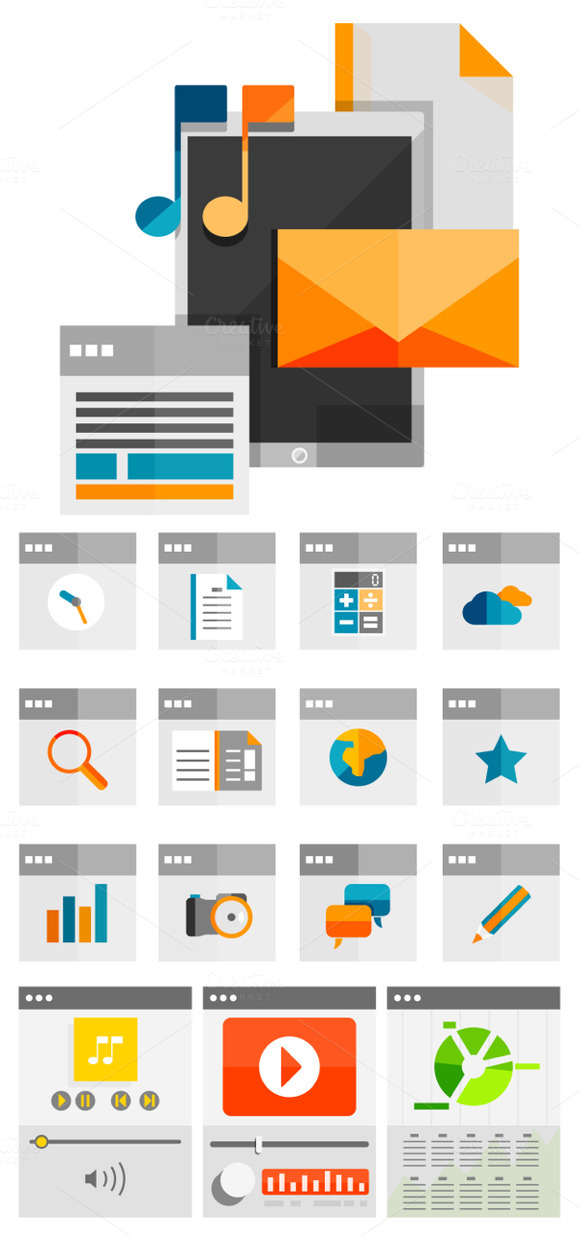 Flat Universal Web Design Templates