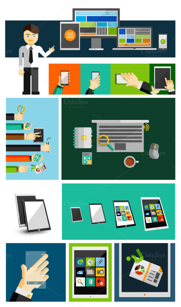 Flat Mobile Devices Templates