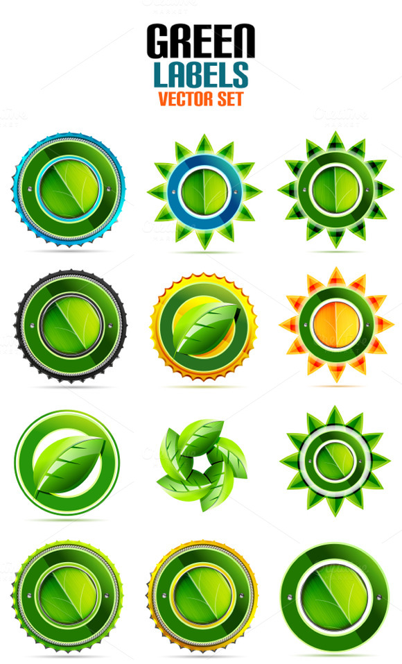 Green Labels Vector Set