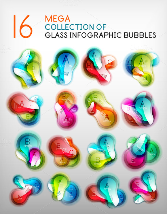 Trendy Glass Infographic Bubbles