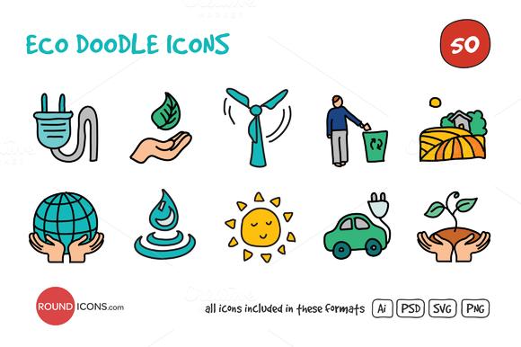 Eco Doodle Icons Set