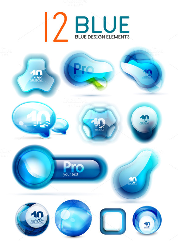 12 Glossy Blue Design Elements