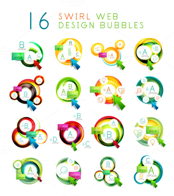 16 Swirl Infographic Banners