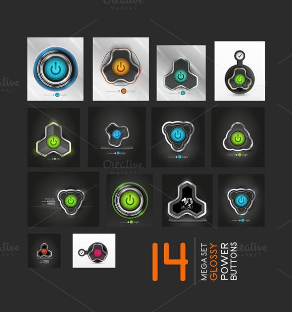 Web Power Buttons Mega Set