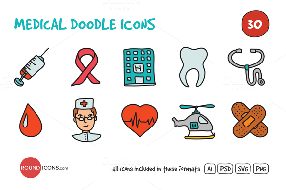 Medical Doodle Icons Set