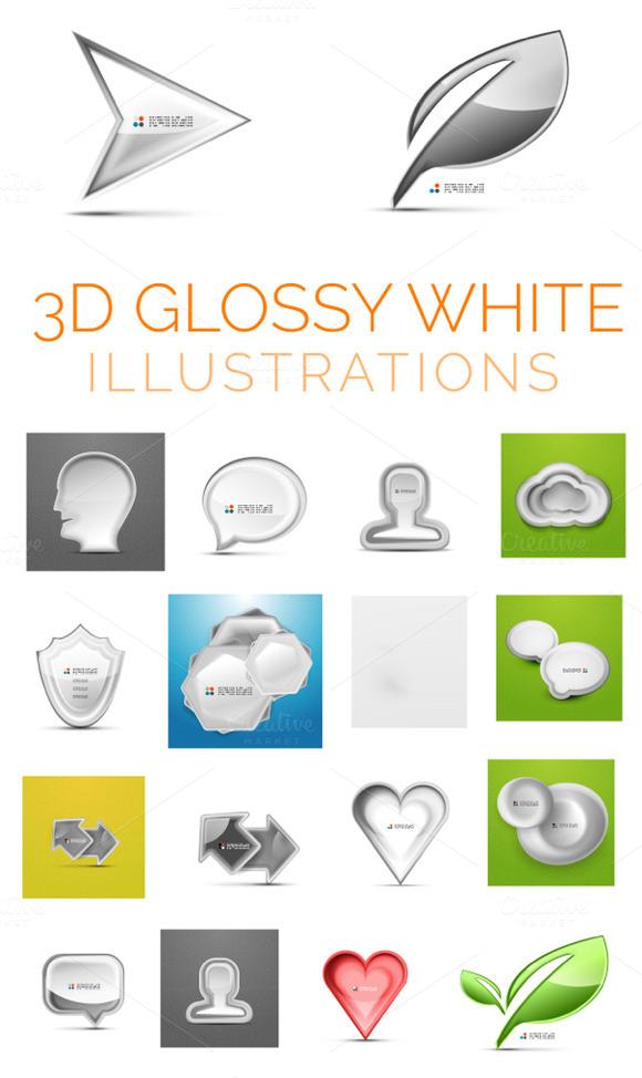 3D Glossy White Illustrations