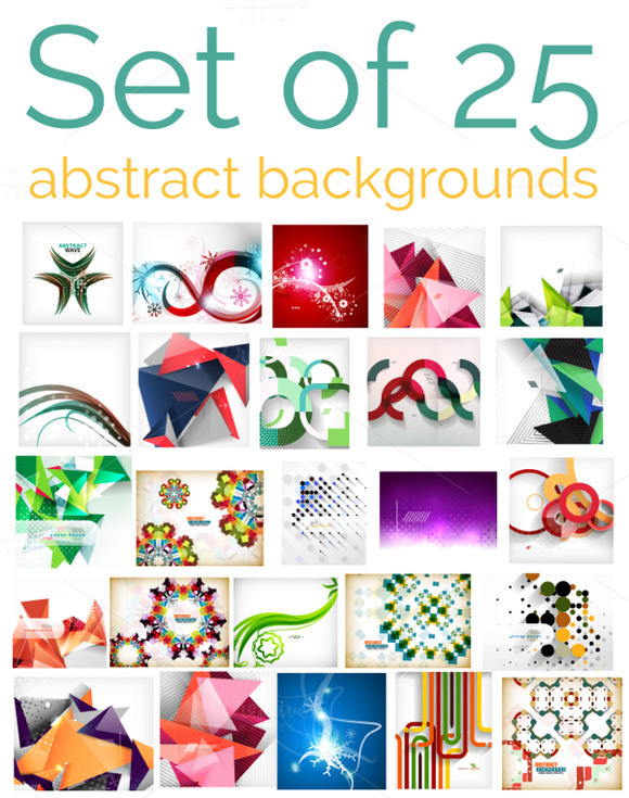 Set Of 25 Abstract Backgrounds