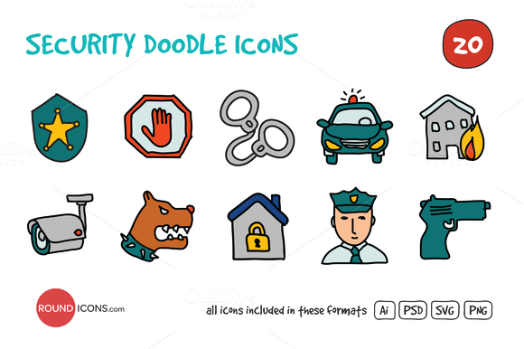 Security Doodle Icons Set