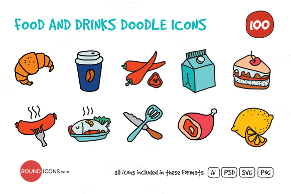 Food And Drinks Doodle Icons Set