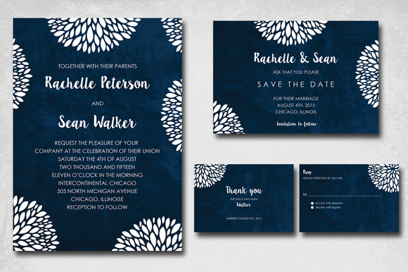Blue Flowery Wedding Invite