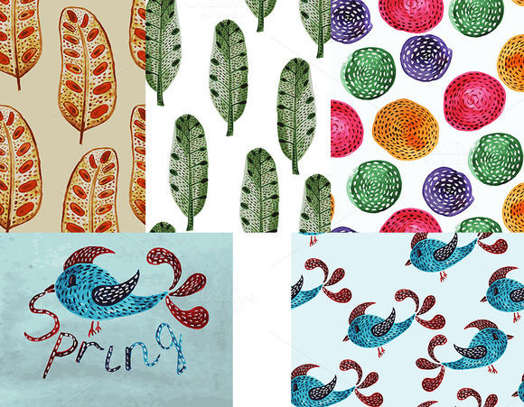 5 Spring Watercolor Patterns