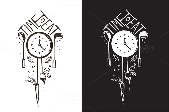 Time To Eat Sign And Label Design
