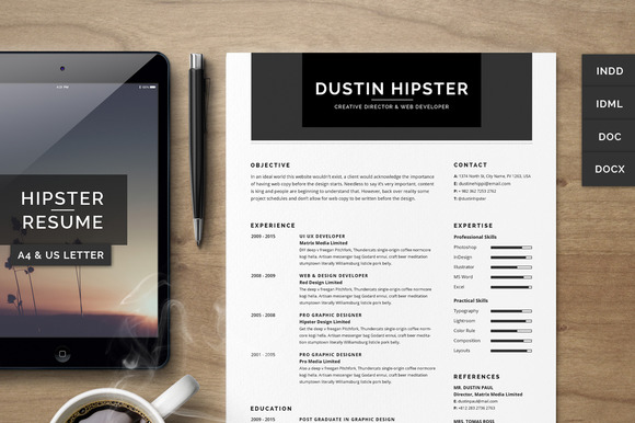 Resume CV Set The Hipster
