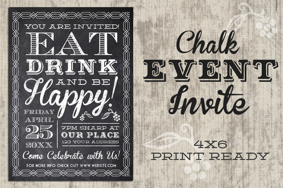 Eat Drink Be Happy Chalk Invite
