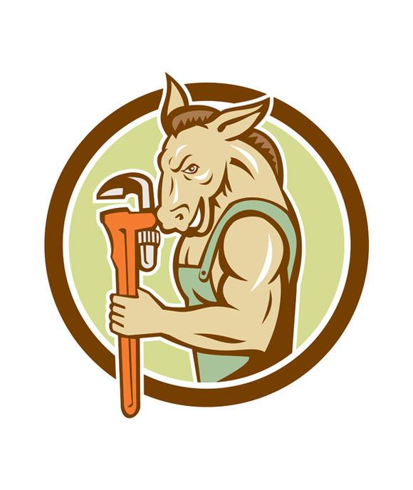 Donkey Plumber Monkey Wrench Circle