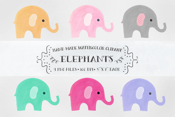 Elephants Watercolor Clipart
