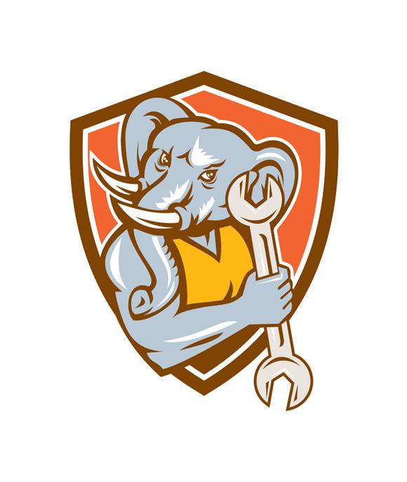 Elephant Mechanic Spanner Mascot Shi