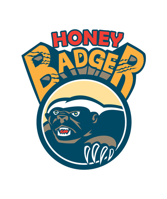 Honey Badger Mascot Claw Circle Retr
