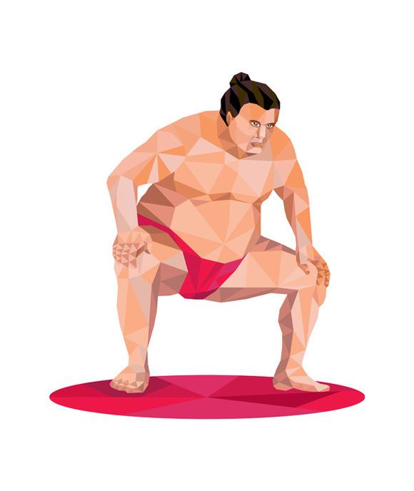 Japanese Sumo Wrestler Squat Low Pol