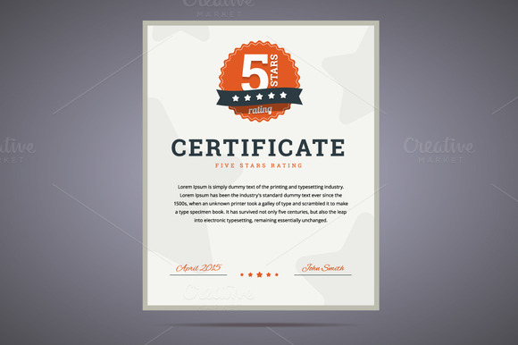 Five Stars Rating Certificate