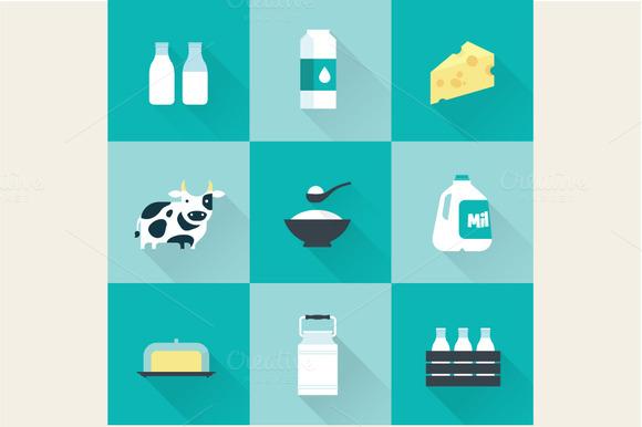 Flat Milk Icons