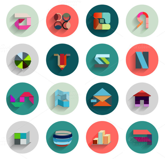 Geometric Abstract Flat Icons Set