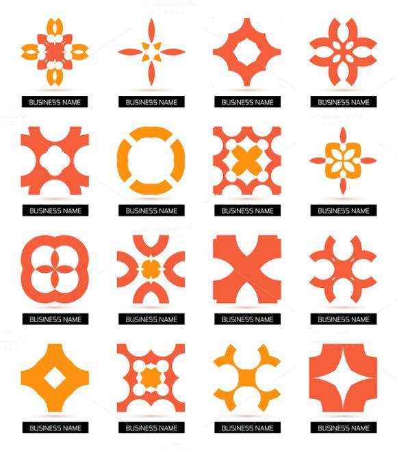 Flat Geometric Business Icons