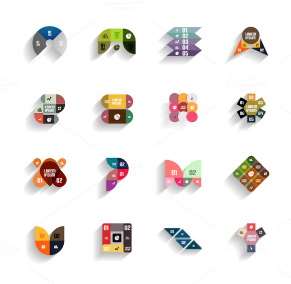 3D Flat Geometric Abstract Icons