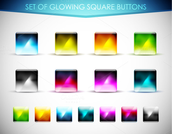 Glowing Square Buttons