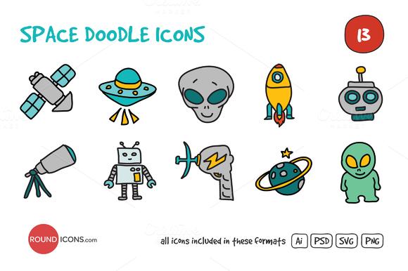 Space Doodle Icons Set