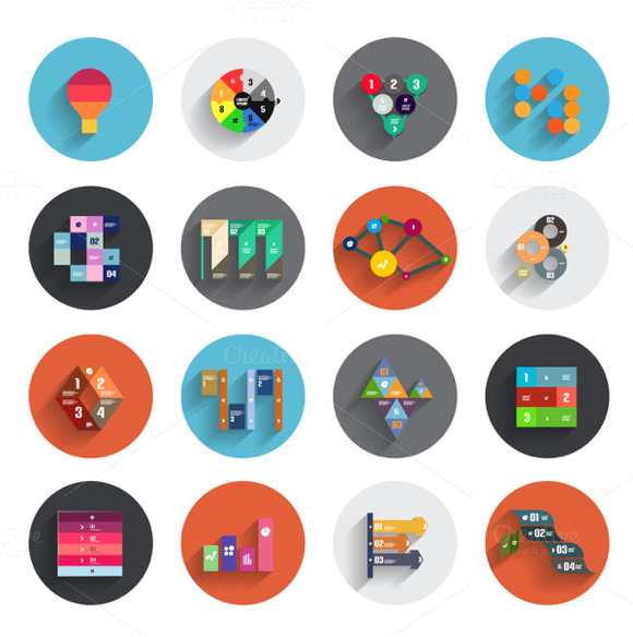 Flat Infographic Icons Set