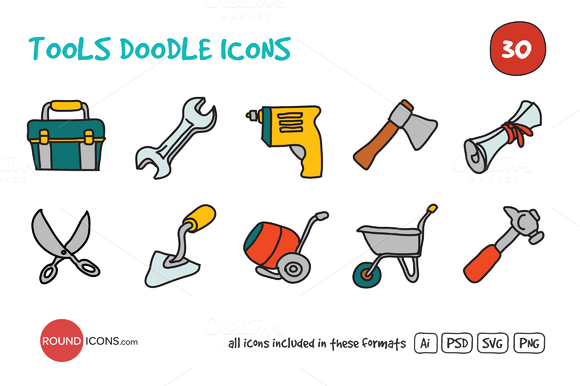 Tools Doodle Icons Set