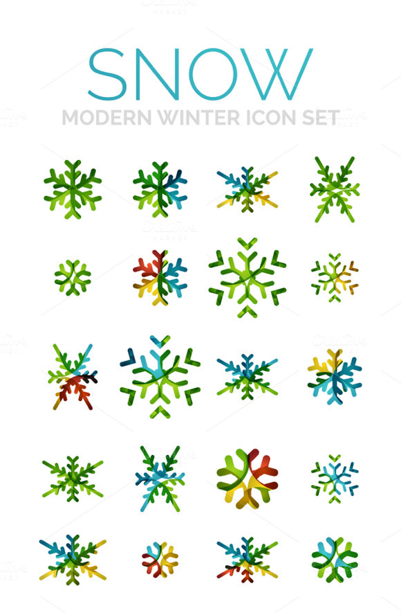 Modern Winter Snow Icons Set