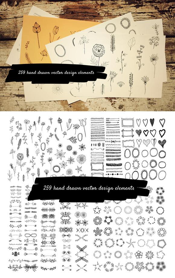 259 Hand Drawn Design Elements
