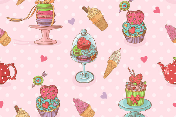 Pattern With Cupcakes And Ice Cream