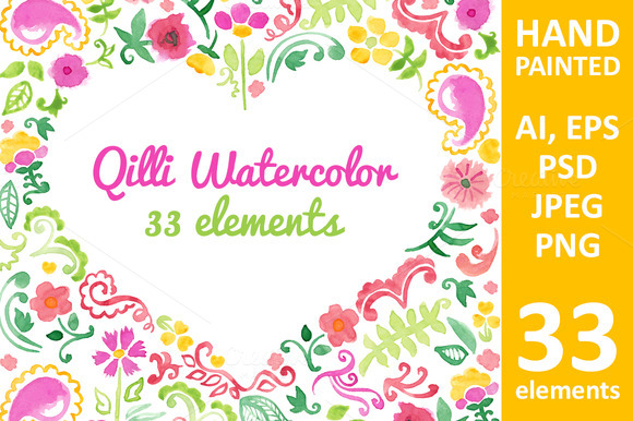 Watercolor Flover Elements