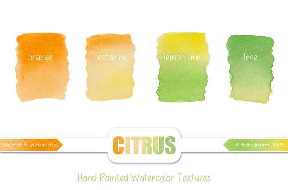 Citrus Watercolor Textures Clip Art