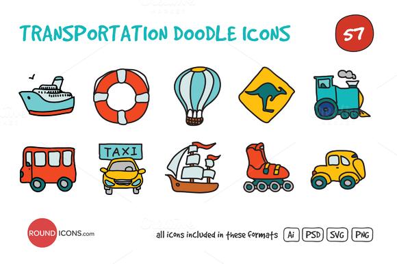 Transportation Doodle Icons Set