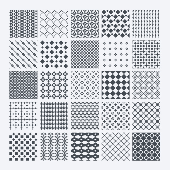 Geometric Monochrome Pattern Set