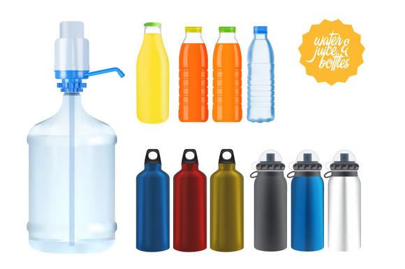Set Of Water Juice Bottles