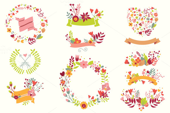 Hand Drawn Flowers Floral Elements