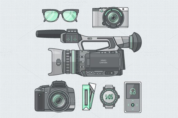 Journalist Equipment Devices Icons