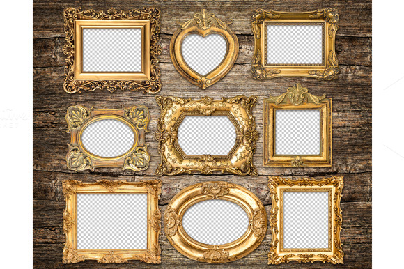 Baroque Style Golden Frames PNG