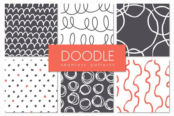 Doodle Seamless Patterns Set